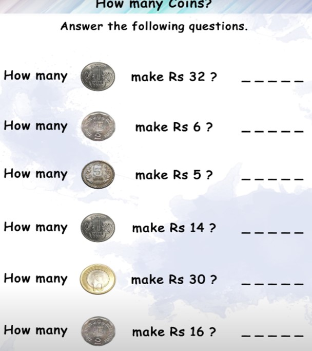 Maths class 1 Money