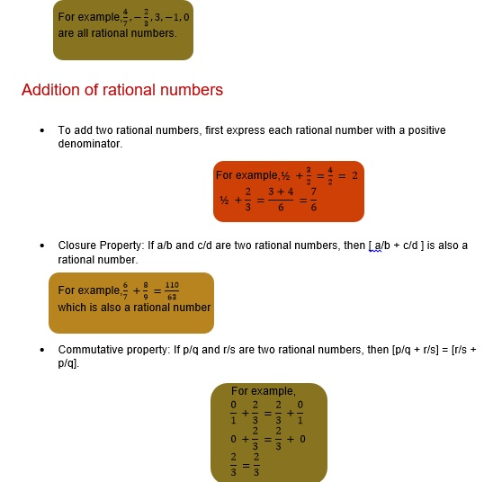 Maths class 8 Rational numbers